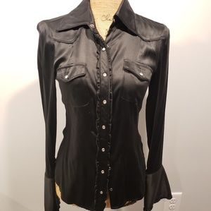 Bebe silky blouse small top shirt button black